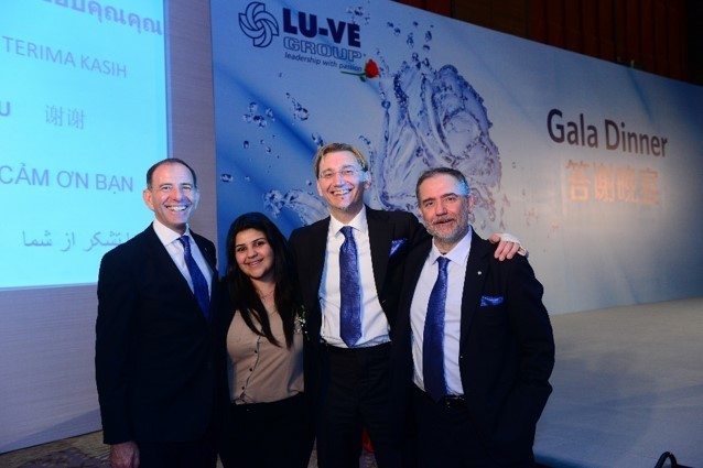 First international trainee, Natasha Rafidi with Stefano Deleidi, Matteo and FabioLiberali at the end of the Gala dinner