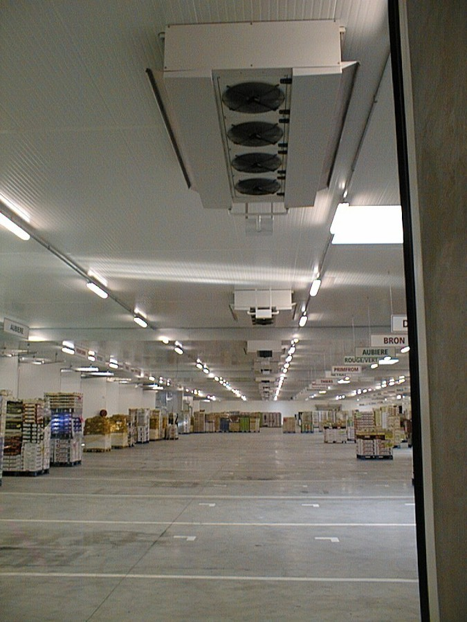 FRUIT AND VEGETABLE STOCK WAREHOUSE - Lyon - France.HDI dual discharge industrial unit coolers