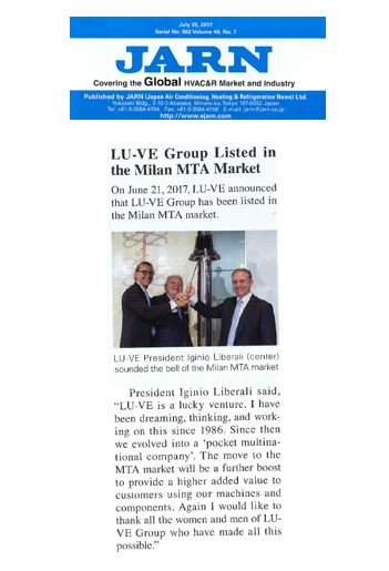 LU-VE Group listed in the Milan MTA Market