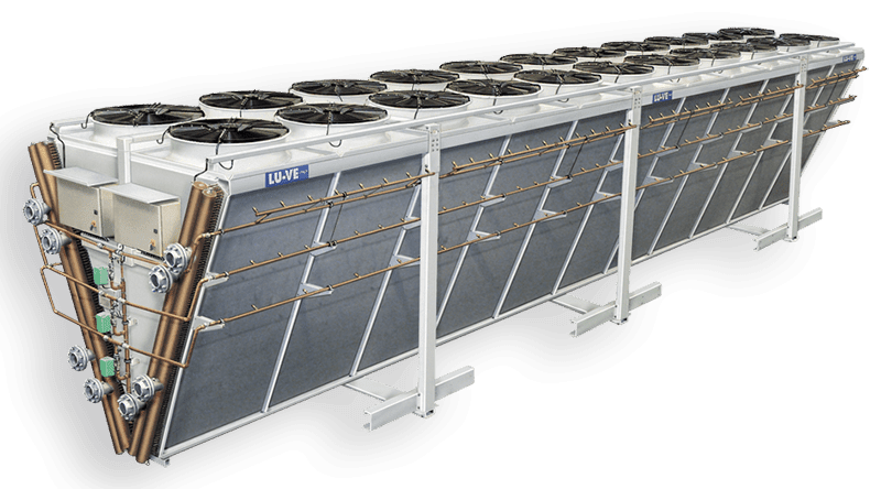 Adiabatic condensers and dry coolers with special Spray System D&S
